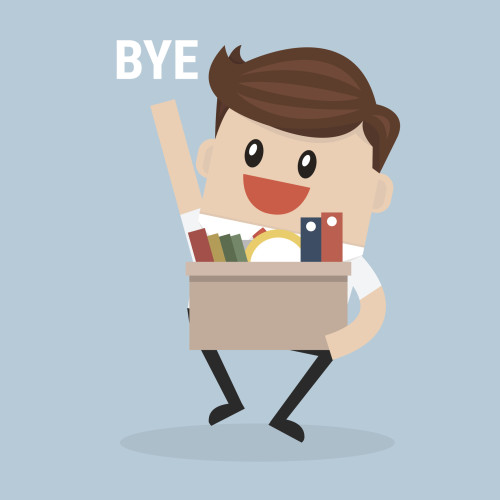 Businessman Leaving Job, vector, flat design